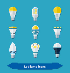 Led lamps flat vector