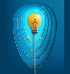 Light bulb paper art vector