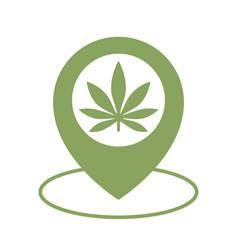 Marijuana store location icon map pointer vector