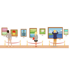 Museum visitors looking at paintings hanging on vector