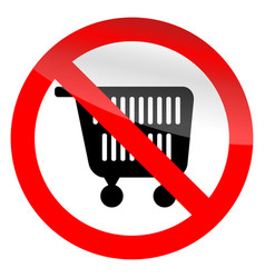 no shopping symbol ban cart icon vector image