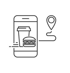 order pizza on mobile app linear icon vector image