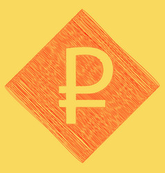 ruble sign red scribble icon obtained as vector image
