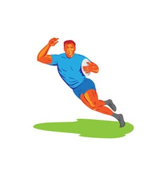 Rugby Player Running Ball WPA vector image