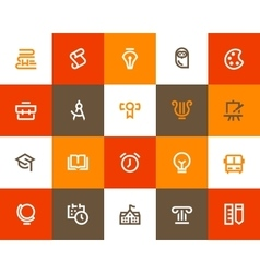 School and education icons flat style vector