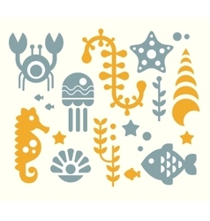 Sea inhabitants and plants set vector