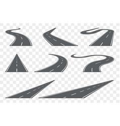 Set curved asphalt road in perspective highway vector
