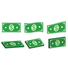 set icons money dollar flat and 3d bundle of cash vector image
