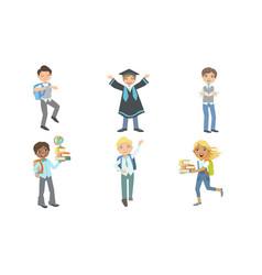 Set images schoolchildren in different vector