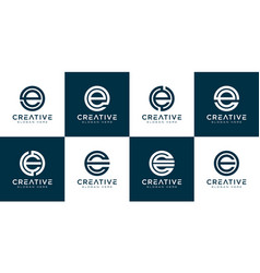 set initial letter e logo design template vector image