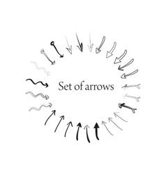 Set of different hand drawn arrows vector image
