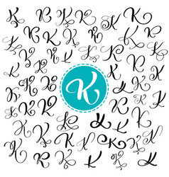 set of hand drawn calligraphy letter k vector image