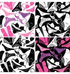 Set seamless patterns - silhouettes glamor vector