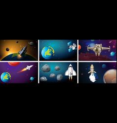 Set space background scenes vector