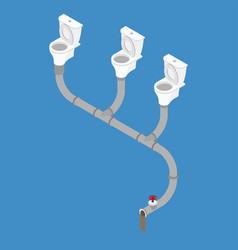 Sewage system isometric style toilet bowl and vector