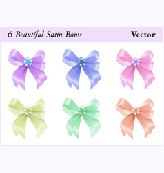 six satin bows vector image