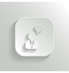 Speech icon - white app button vector image