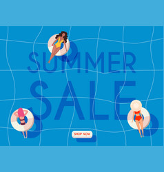 Summer sale banner women in swim suits lying on vector