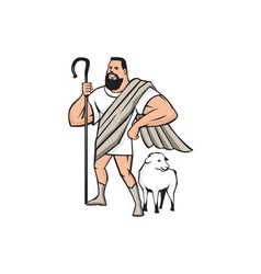 Superhero Shepherd Sheep Standing Cartoon vector