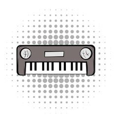 Synthesizer grey comics icon vector image