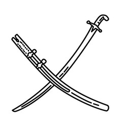 Syrian shamshir sword icon doodle hand drawn vector