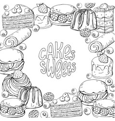 template with monochrome hand draw sweet vector image