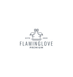 Two flamingo line modern logo design vector