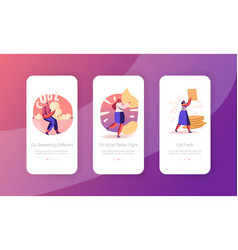 Unhealthy food mobile app page onboard screen set vector