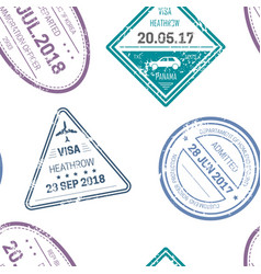 visa stamps or seals seamless pattern traveling vector image