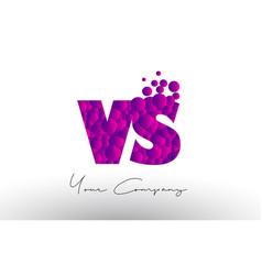 vs v s dots letter logo with purple bubbles vector image