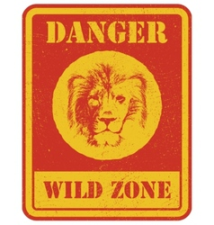 warning sign danger signal with lion vector image