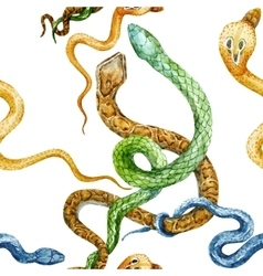 Watercolor snake and flowers pattern vector image