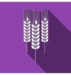 Wheat ear icon with long shadow vector