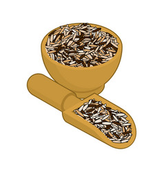 Wild rice in wooden bowl and spoon groats in wood vector