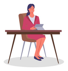 woman at table with tablet in office office vector image
