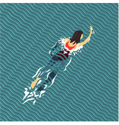 Woman swim swimming pool top view flat style vector