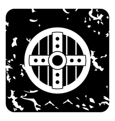 Wooden shield icon grunge style vector