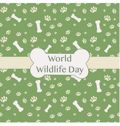 world wildlife day car with animal traces vector image