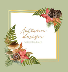 Wreath design with autumn theme watercolour small vector
