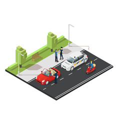 colorful isometric traffic concept vector image
