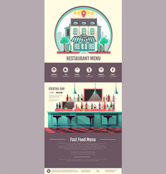flat style interior of cocktail bar web design vector image vector image