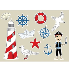 Funny nautical set vector image vector image