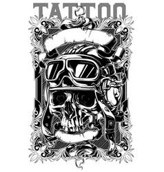 retro human pilot skull tattoo with ribbons design vector image
