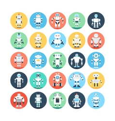 Robots Colored Icons 4 vector image