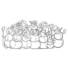 snowmen group cartoon coloring book vector image