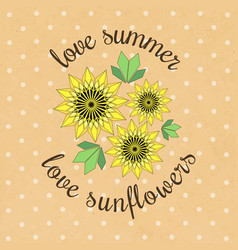Banner template with yellow sunflowers and vector