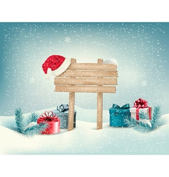 Christmas winter background with presents and vector image vector image