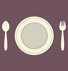 Empty Plate With Spoon and Fork Vintage Style vector image
