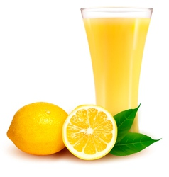 Fresh lemon and glass with juice vector