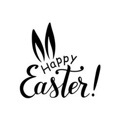 happy easter lettering with ears of hare vector image vector image